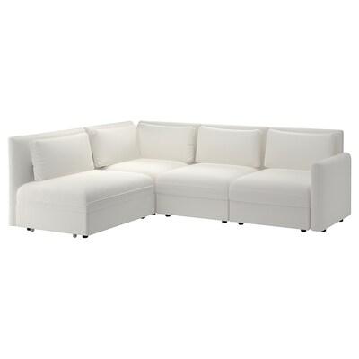 VALLENTUNA وحدة كنبة زاوية 3 مقاعد+كنبة سرير, وتخزين/Murum أبيض