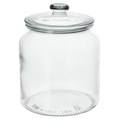 VARDAGEN مرطبان مع غطاء, زجاج شفاف, 1.9 ل