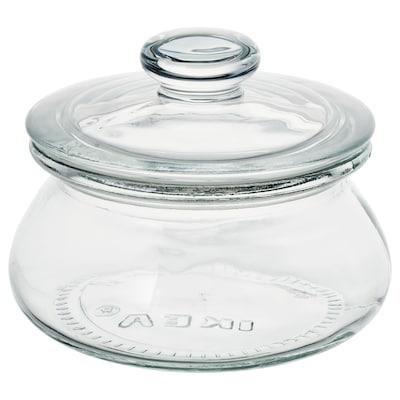 VARDAGEN مرطبان مع غطاء, زجاج شفاف, 0.3 ل