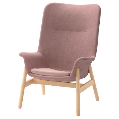 VEDBO كرسي بذراعين ذو ظهر عالي, Gunnared بني فاتح-وردي