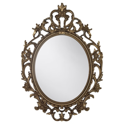 VIKERSUND Mirror, oval/brass-colour, 59x85 cm