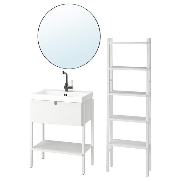 VILTO / ODENSVIK Bathroom furniture, set of 5, white/LUNDSKÄR tap, 65x49x86 cm