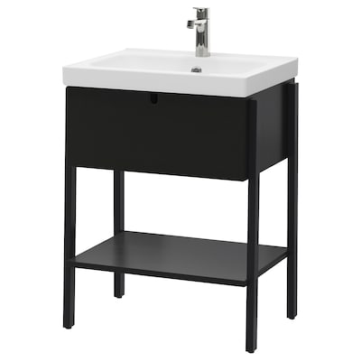 VILTO / ODENSVIK حامل حوض 1 درج, أسود/حنفية Brogrund, 65x49x86 سم