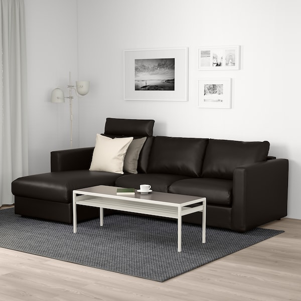 VIMLE كنبة 3 مقاعد, مع أريكة طويلة مع مسند للرأس/Farsta أسود