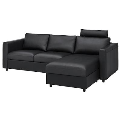 VIMLE كنبة 3 مقاعد, مع أريكة طويلة مع مسند للرأس/Grann/Bomstad أسود