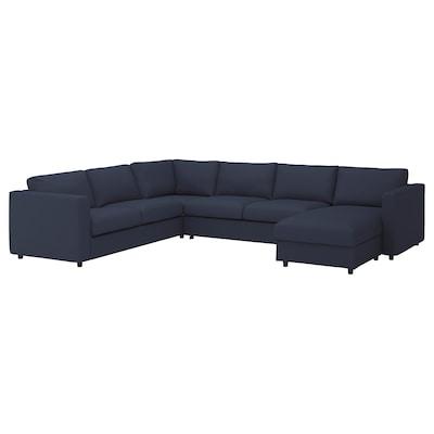 VIMLE Corner sofa-bed, 5-seat, with chaise longue/Orrsta black-blue