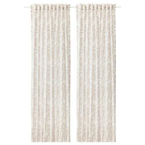 VINTERJASMIN curtains, 1 pair white/beige 300 cm 145 cm 1.03 kg 4.35 m² 2 pieces