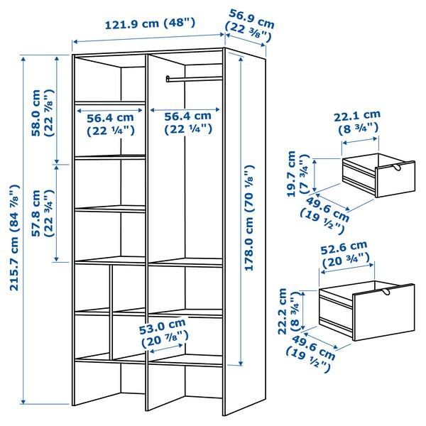 VISTHUS خزانة ملابس, رمادي/أبيض, 122x59x216 سم
