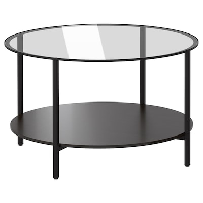 VITTSJÖ طاولة قهوة, أسود-بني/زجاج, 75 سم