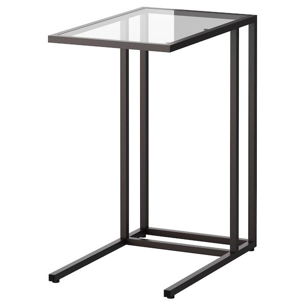 VITTSJÖ Laptop stand, black-brown/glass, 35x65 cm