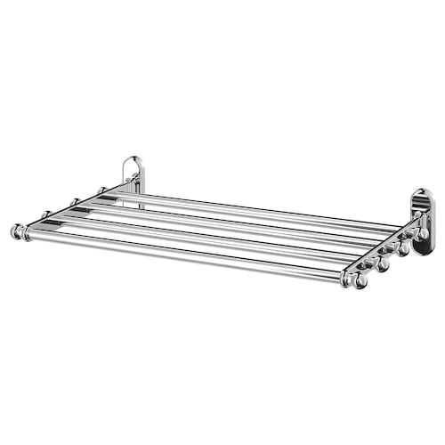 VOXNAN wall shelf with towel rail chrome effect 48 cm 28 cm 9 cm