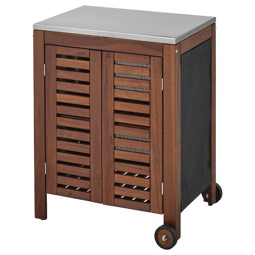 ÄPPLARÖ / KLASEN meuble de rangement, extérieur teinté brun/couleur acier inox 77 cm 58 cm 90 cm