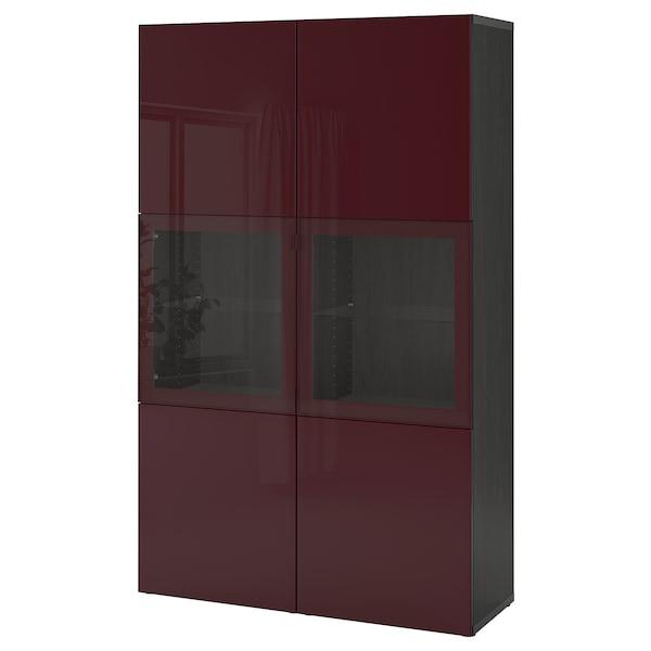 BESTÅ combinaison rangement ptes vitrées brun noir Selsviken/brun-rouge foncé verre transparent 120 cm 42 cm 192 cm