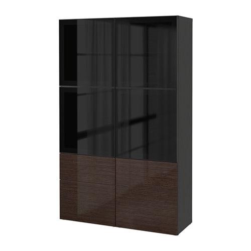 best combinaison rangement portes vitr es noir marron laqu selsviken verre fum marron. Black Bedroom Furniture Sets. Home Design Ideas
