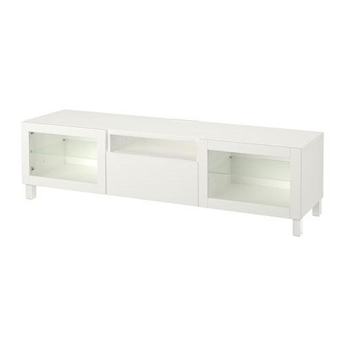 Bestå Meuble Tv Lappvikensindvik Verre Transparent Blanc