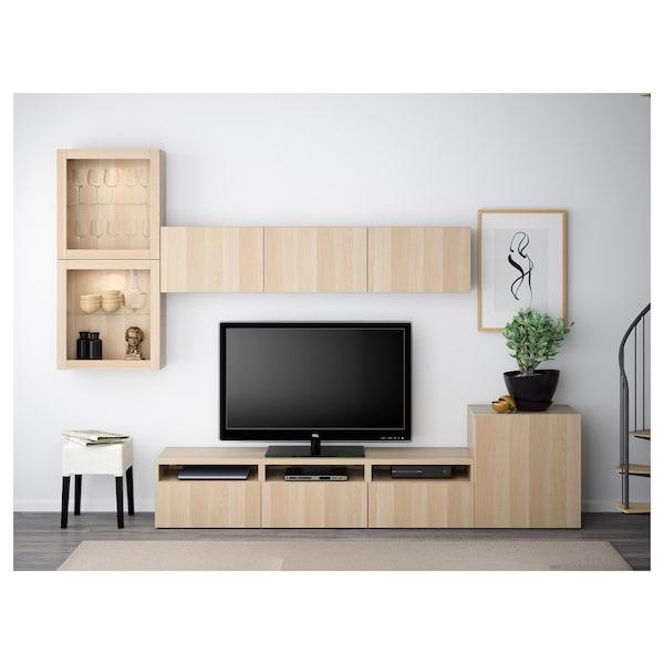 "BESTÅ combinaison rangt TV/vitrines Lappviken/Sindvik motif chêne blanchi verre transp 300 cm 211 cm 20 cm 40 cm 70 """