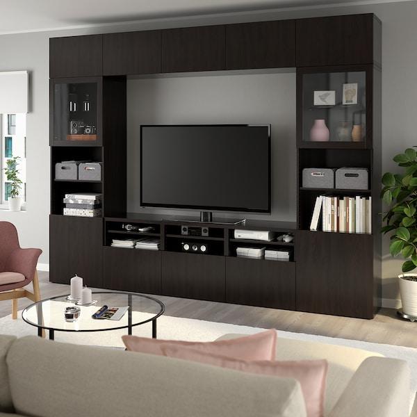BESTÅ combinaison rangt TV/vitrines Lappviken/Sindvik brun noir verre transparent  300 cm 40 cm 230 cm