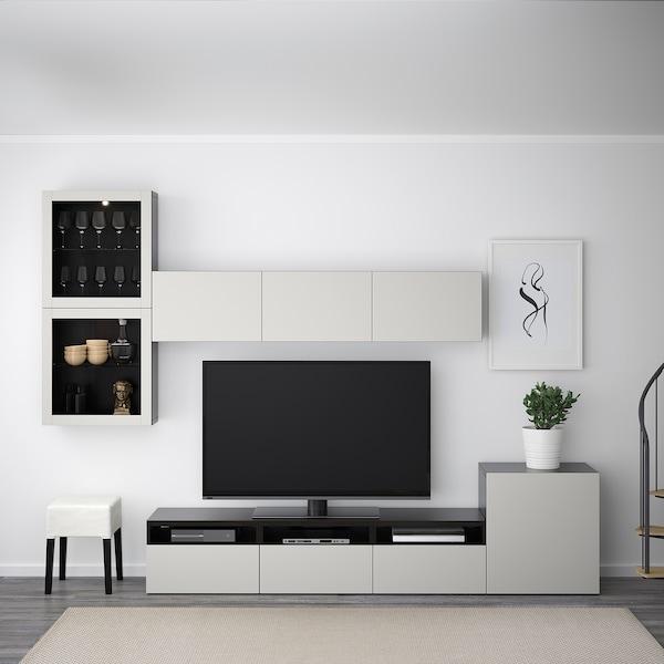 """BESTÅ combinaison rangt TV/vitrines brun noir/Lappviken gris clair verre transparent  300 cm 211 cm 20 cm 40 cm 70 """""""