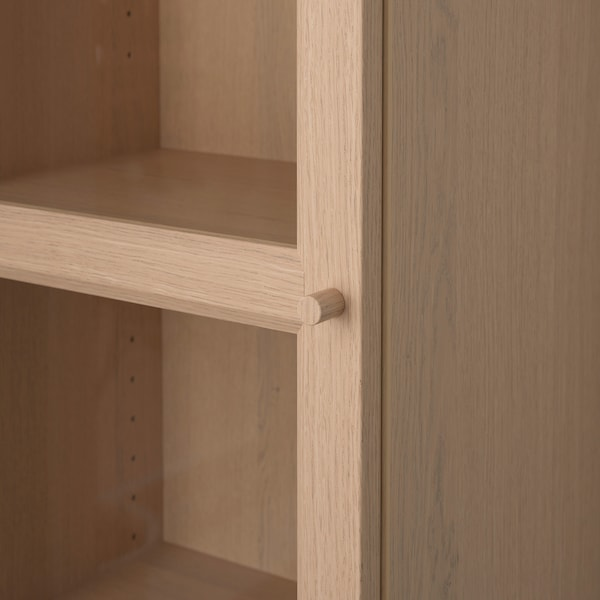 BILLY / OXBERG bibliothèque avec porte vitrée plaqué chêne blanchi/verre 40 cm 30 cm 202 cm 14 kg