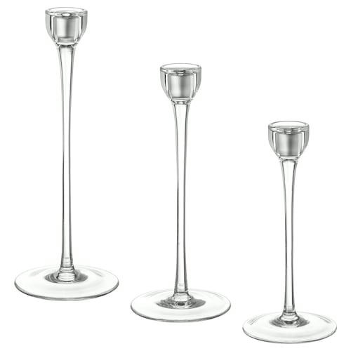 BLOMSTER bougeoir, lot de 3 verre transparent