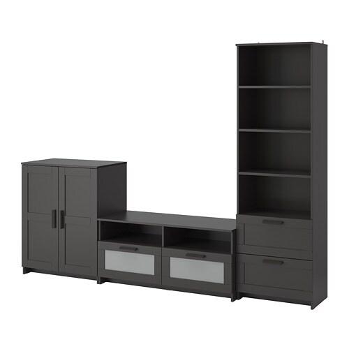 Meubles tv brimnes combinaison de rangement noir ikea - Ikea meuble tv lack ...