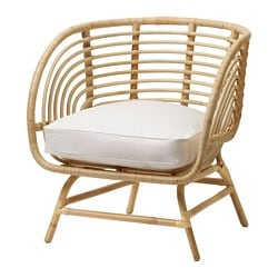 BUSKBO fauteuil, rotin, Djupvik blanc