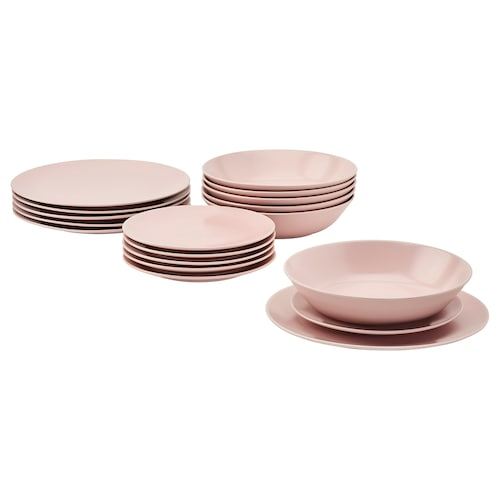 DINERA service, 18 pièces rose clair