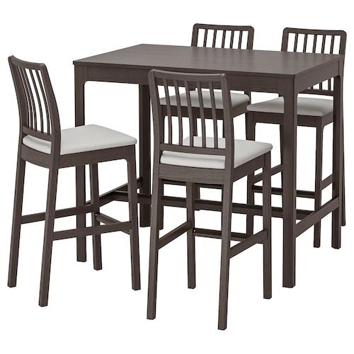 EKEDALEN / EKEDALEN table de bar+4 tabourets brun foncé/Orrsta gris clair