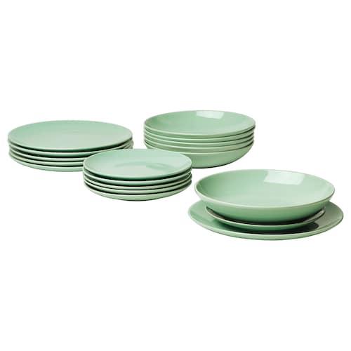 FÄRGRIK service, 18 pièces vert clair