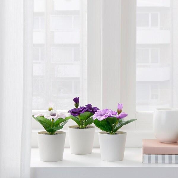 FEJKA plante artificielle en pot intérieur/extérieur Pensée 12 cm 6 cm 3 pièces