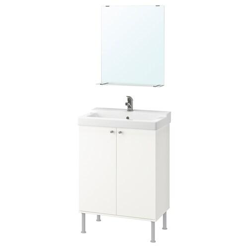 FULLEN / TÄLLEVIKEN mobilier salle de bain, 5 pièces blanc/Olskär mitigeur lavabo 61 cm