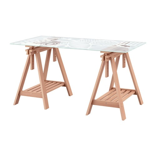 Glasholm finnvard table verre h tre motif uf ikea Table financiere
