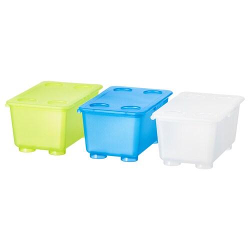 GLIS boîte avec couvercle blanc/vert clair/bleu 17 cm 10 cm 8 cm 3 pièces