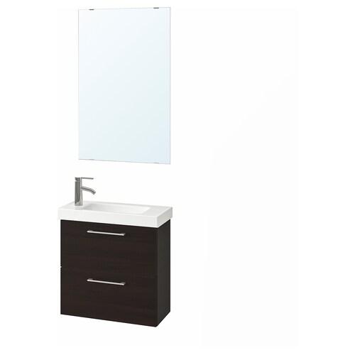 GODMORGON / HAGAVIKEN mobilier salle de bain, 4 pièces brun noir/Dalskär mitigeur lavabo 63 cm 60 cm 49 cm 89 cm