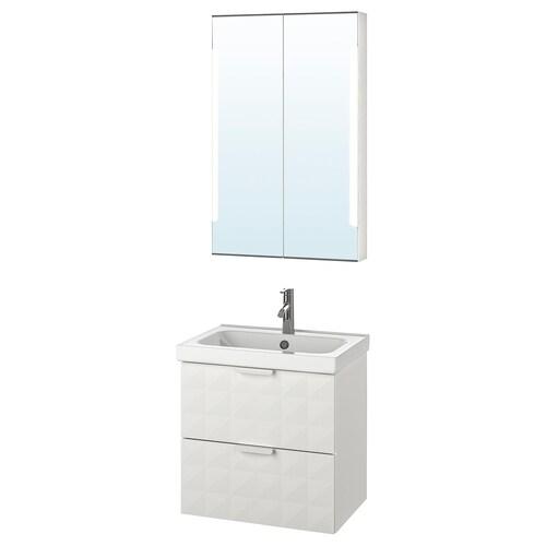 GODMORGON / ODENSVIK mobilier salle de bain, 4 pièces Resjön blanc/Dalskär mitigeur lavabo 63 cm 60 cm 49 cm 89 cm