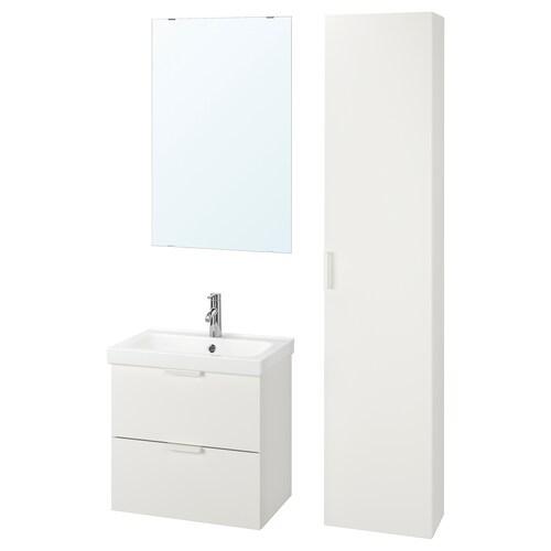 GODMORGON / ODENSVIK mobilier salle de bain, 5 pièces blanc/Dalskär mitigeur lavabo 63 cm 60 cm 49 cm 89 cm