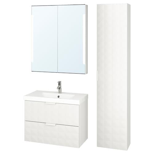 GODMORGON / ODENSVIK mobilier salle de bain, 5 pièces Resjön blanc/Dalskär mitigeur lavabo 83 cm 80 cm 49 cm 68 cm