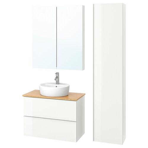 GODMORGON/TOLKEN / TÖRNVIKEN mobilier salle de bain, 6 pièces brillant blanc/bambou Dalskär mitigeur lavabo 82 cm 80 cm 49 cm 89 cm