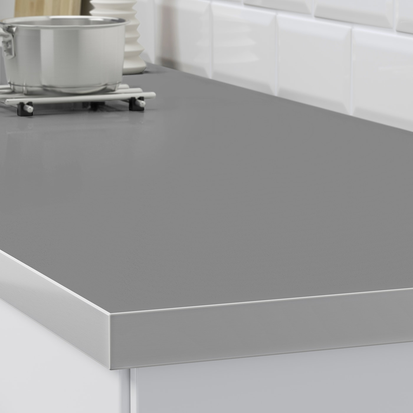 Hallestad Plan De Travail Double Face Blanc Motif Aluminium