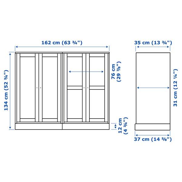 HAVSTA combinaison rgt portes vitrées gris 162 cm 37 cm 134 cm 23 kg