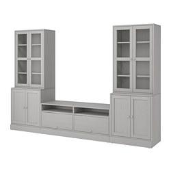 HAVSTA Meuble combinaison rangement/vitrines, gris