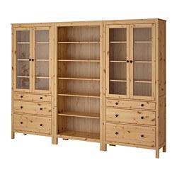 HEMNES combi rangement portes/tiroirs, brun clair