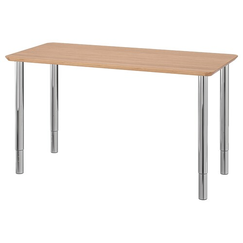 HILVER / GERTON table bambou/chromé 140 cm 65 cm