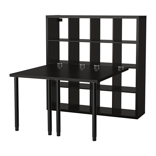 kallax composition de bureau noir brun ikea. Black Bedroom Furniture Sets. Home Design Ideas