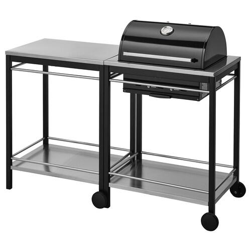 KLASEN barbecue au charbon, avec chariot acier inoxydable 144 cm 57 cm 109 cm