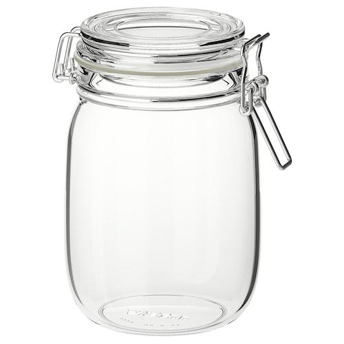 KORKEN bocal avec couvercle verre transparent 16.5 cm 12 cm 1 l