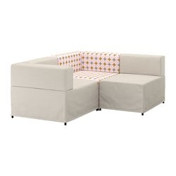 KUNGSHAMN canapé d'angle modulable, 2 places, Idekulla beige, Yttered multicolore, multicolore