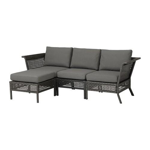 KUNGSHOLMEN canapé 3 pl + repose-pieds, ext - noir-marron/Frösön ...