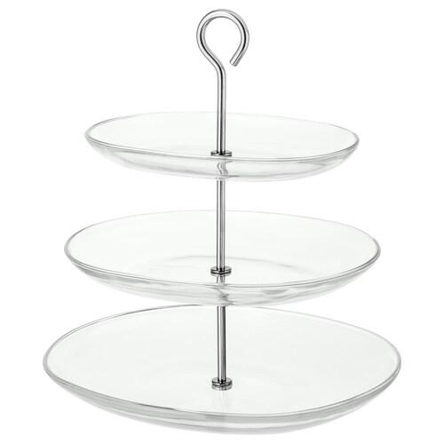 KVITTERA présentoir, 3 étages verre transparent/acier inoxydable 31 cm 27 cm 34 cm