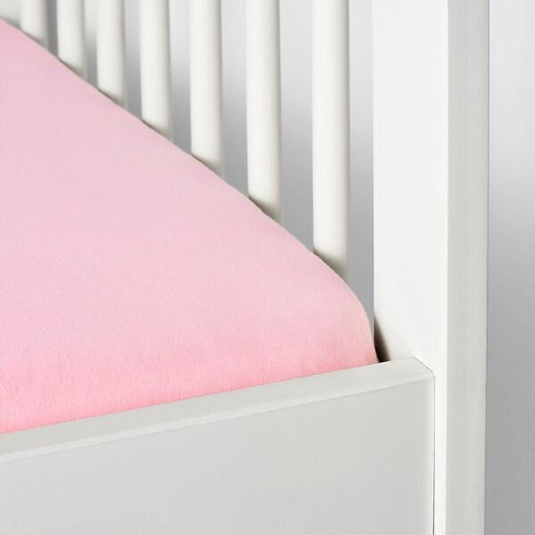 LEN drap housse pour lit bébé blanc/rose 120 cm 60 cm 2 pièces